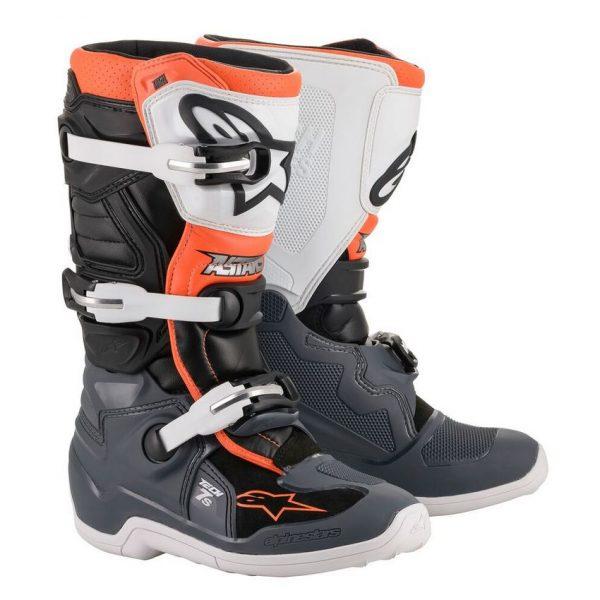 botas alpinestars tech 7 s niño gris negra naranja fluor crosscountry