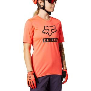 camiseta fox chica mtb ranger naranja coral fluor logos negros disponible en crosscountry shop madrid (2)